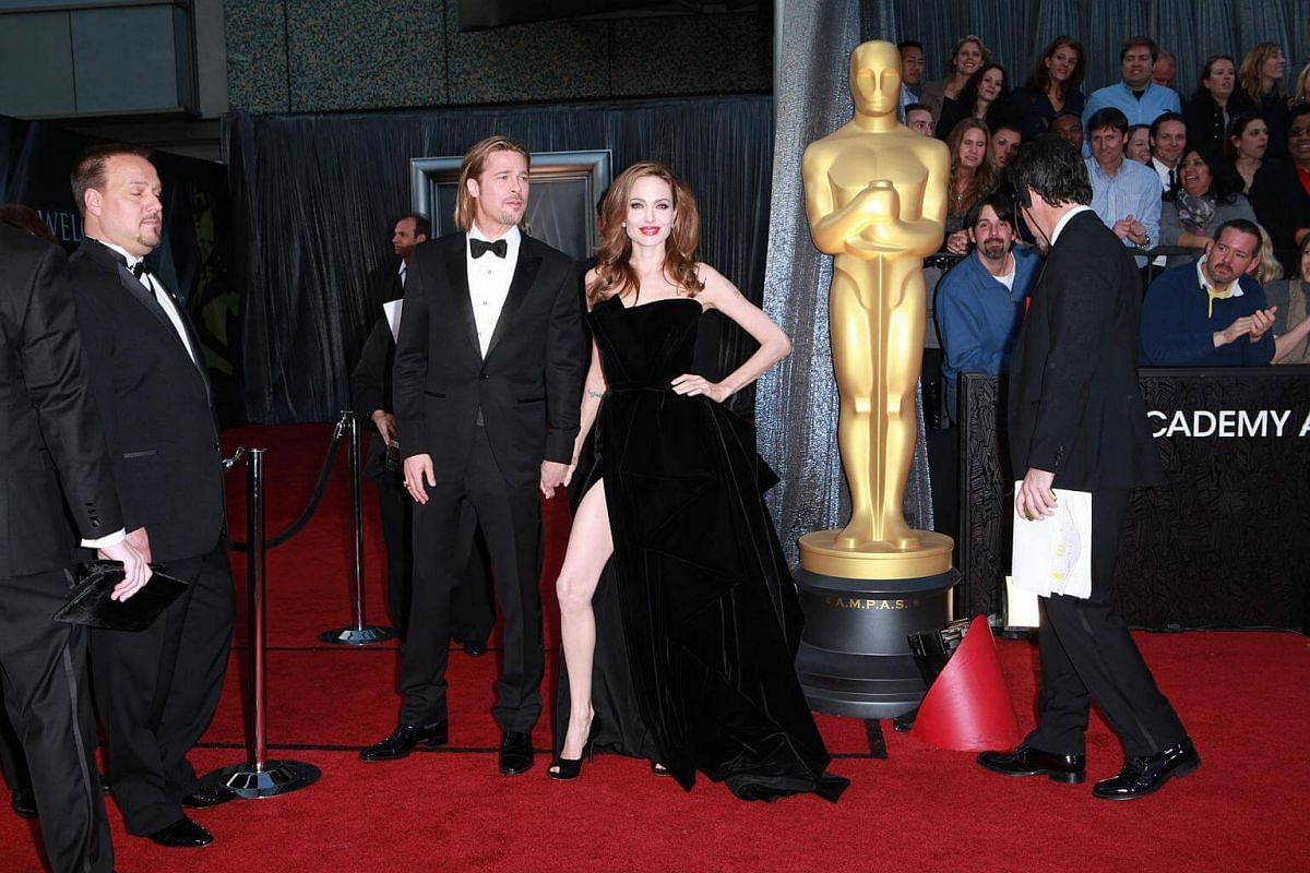 Brad Pitt and Angelina Jolie on the red carpet at the Academy Awards in Los Angeles, on Feb 26, 2012.