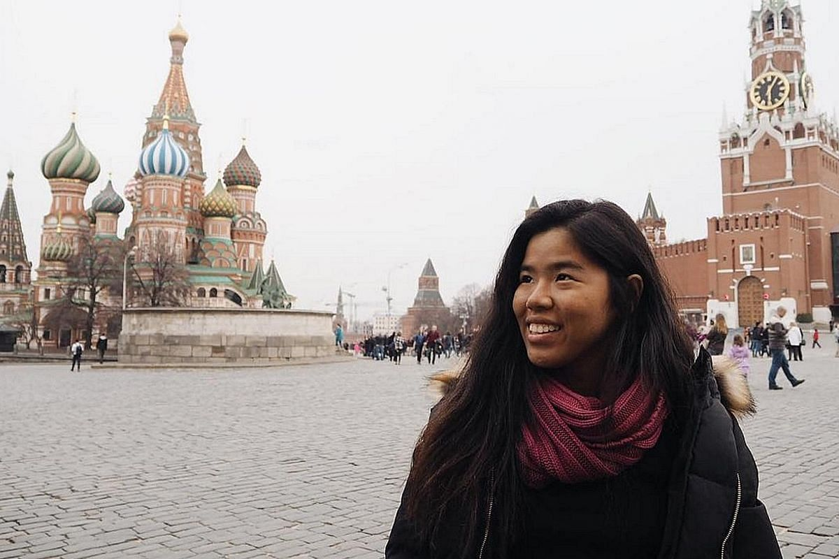 The places swimmer Yip Pin Xiu has visited include (above from left) Castle Hill in Queensland, Australia; Red Square in Moscow, Russia; and Brighton Pier, England. Yip at the Colonia de Sant Jordi beach (above) in Majorca, Spain.