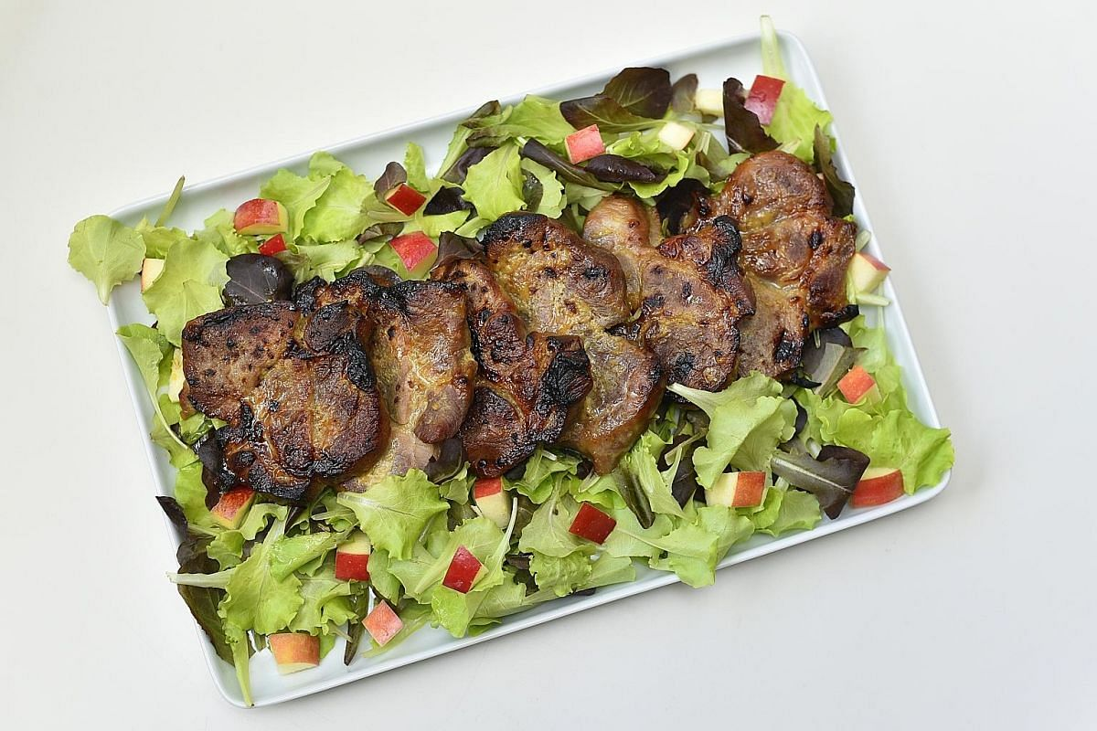 The lemon is all used up with its zest in the marinade and its juice coating the apple cubes in the salad accompanying the dish.