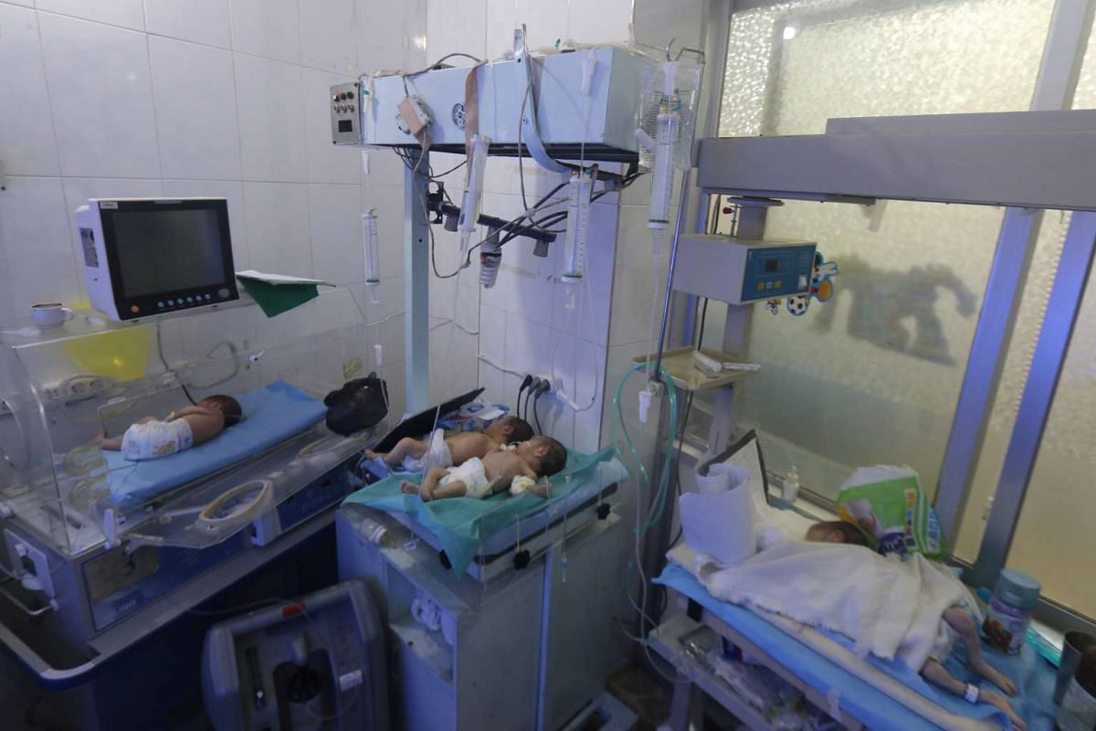 A nursery at a children's hospital that was partially damaged by recent air strikes, in a rebel held area of Aleppo, Syria, on July 24.