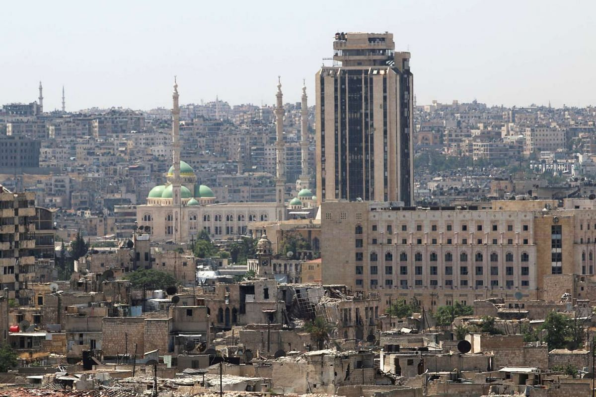 Government-controlled areas of Aleppo seen from the rebel-held part of the city on Aug 22.