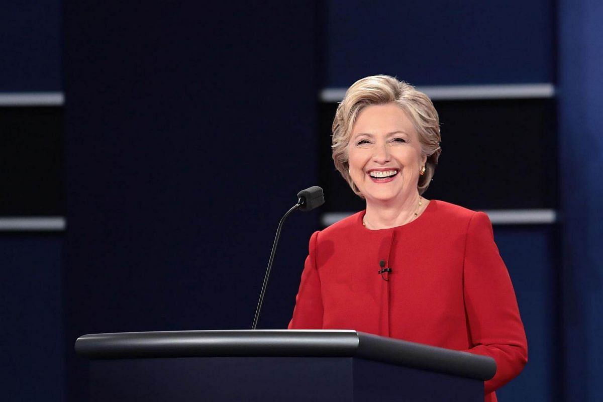 Democratic presidential nominee Hillary Clinton smiles during the presidential debate at Hofstra University on Sept 26, 2016 in Hempstead, New York.