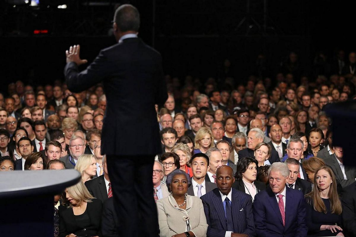 Moderator Lester Holt speaks to the audience during the presidential debate at Hofstra University on Sept 26, 2016 in Hempstead, New York.