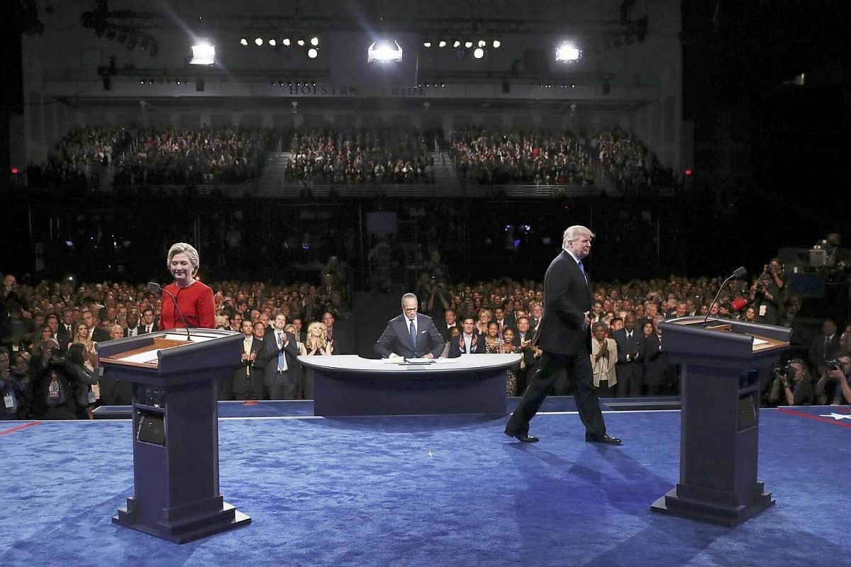 Republican nominee Donald Trump and Democratic nominee Hillary Clinton arriving for their first presidential debate at Hofstra University in Hempstead, New York, on Sept 26, 2016.