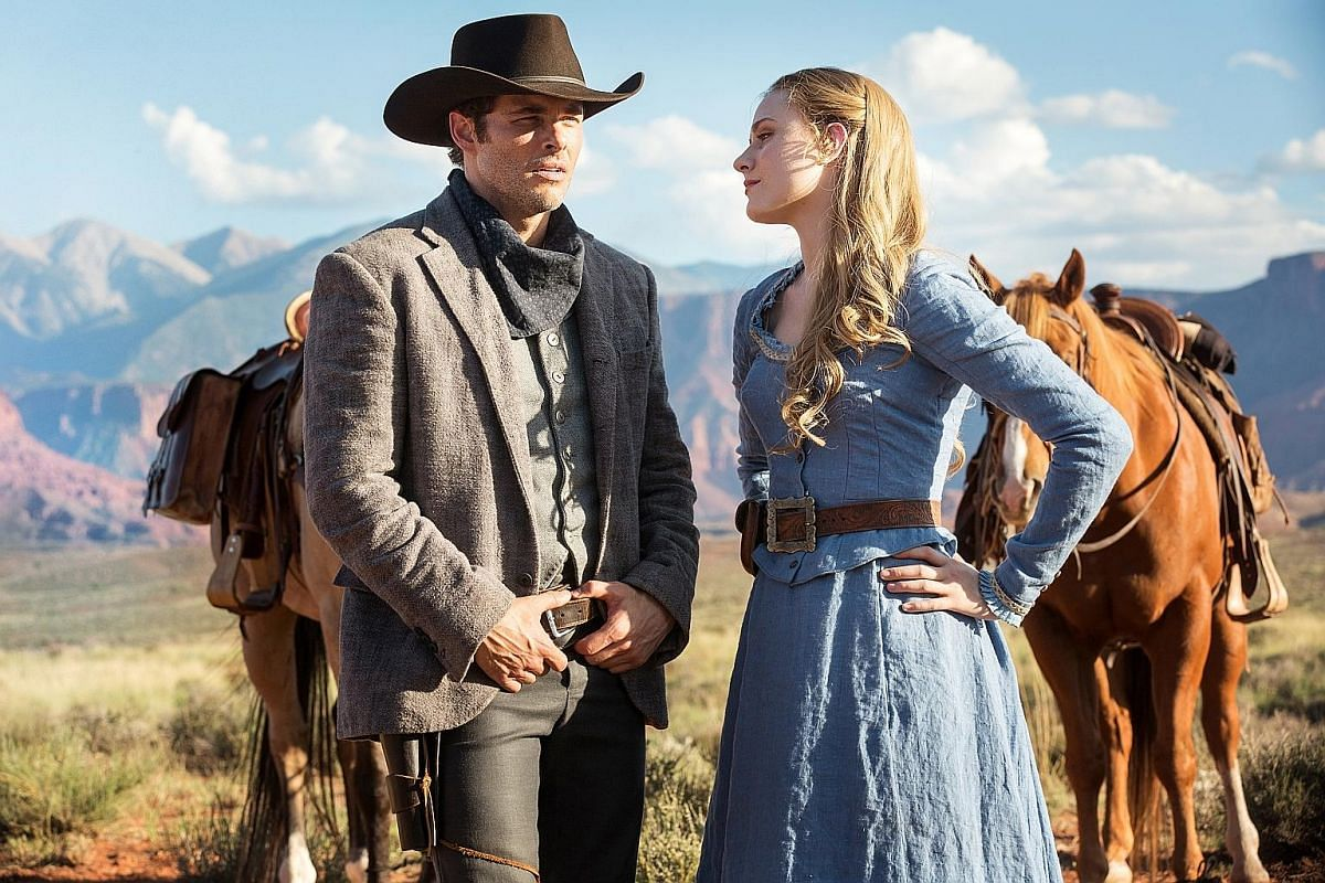 James Marsden and Evan Rachel Wood (both above) are part of the starry cast in Westworld, a science-fiction western drama by HBO.