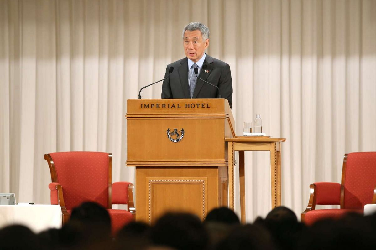 Prime Minister Lee Hsien Loong delivers his keynote address at the Special Session of the Nikkei 22nd International Conference on the Future of Asia at the Imperial Hotel in Tokyo on Sept 29, 2016.