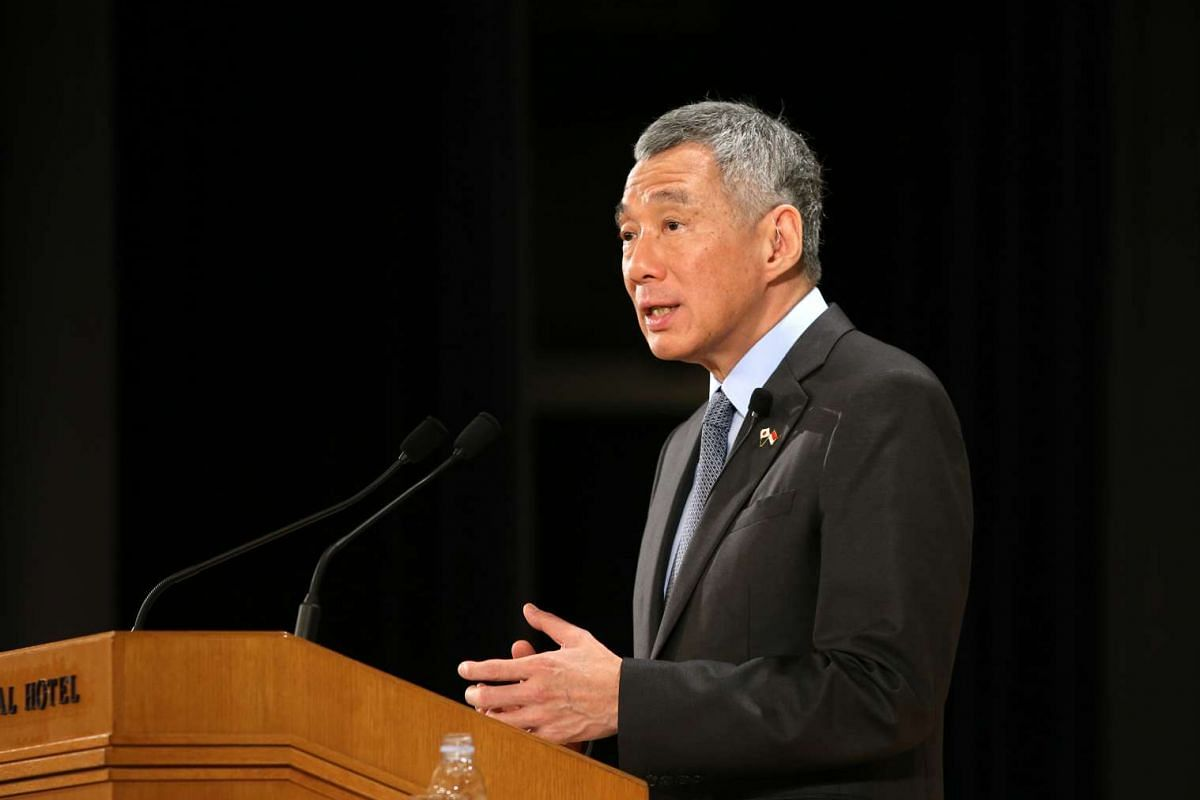 Prime Minister Lee Hsien Loong delivers his keynote address at the Special Session of the Nikkei 22nd International Conference on the Future of Asia, at the Imperial Hotel in Tokyo on Sept 29, 2016.