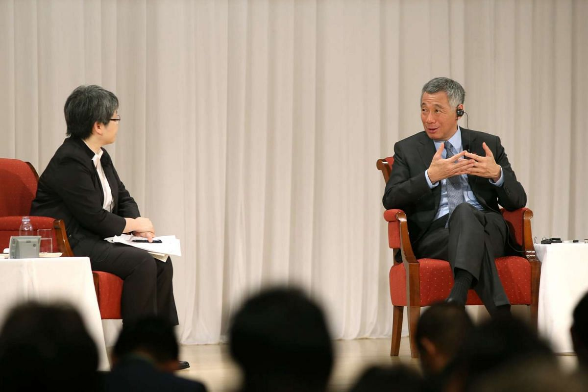 Prime Minister Lee Hsien Loong at a Q&A session moderated by Nikkei Asian Review Editor- in- Chief Sonoko Watanabe at the Special Session of the Nikkei 22nd International Conference on the Future of Asia at the Imperial Hotel, Tokyo on Sept 29, 2016.