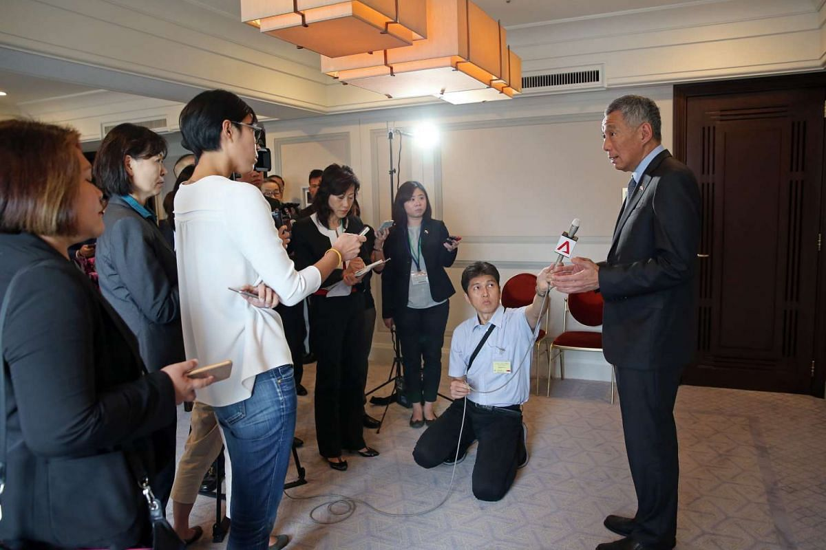 Prime Minister Lee Hsien Loong gives a wrap-up interview with Singapore media of his Official visit to Japan, at the Imperial Hotel, Tokyo on Sept 29, 2016.