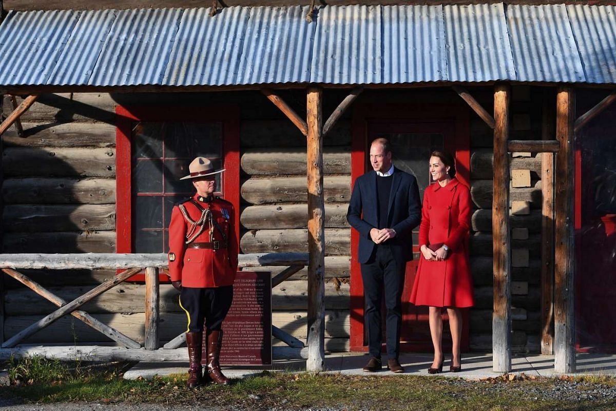 Britain's Catherine, Duchess of Cambridge, and Prince William, Duke of Cambridge, during a visit to Carcross, Yukon, Canada, on Sept 28.