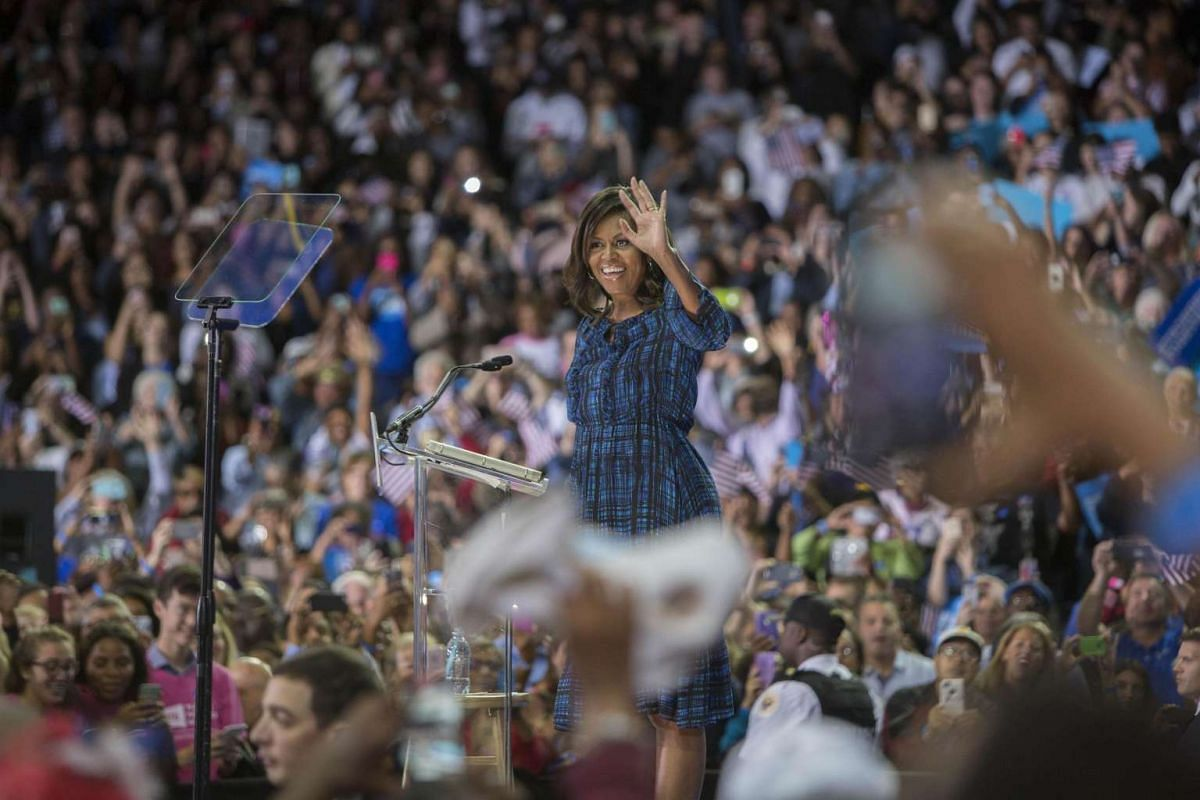 US first lady Michelle Obama campaigns for Democratic presidential nominee Hillary Clinton at Lasalle University in Philadelphia, Pennsylvania on Sept 28, 2016.