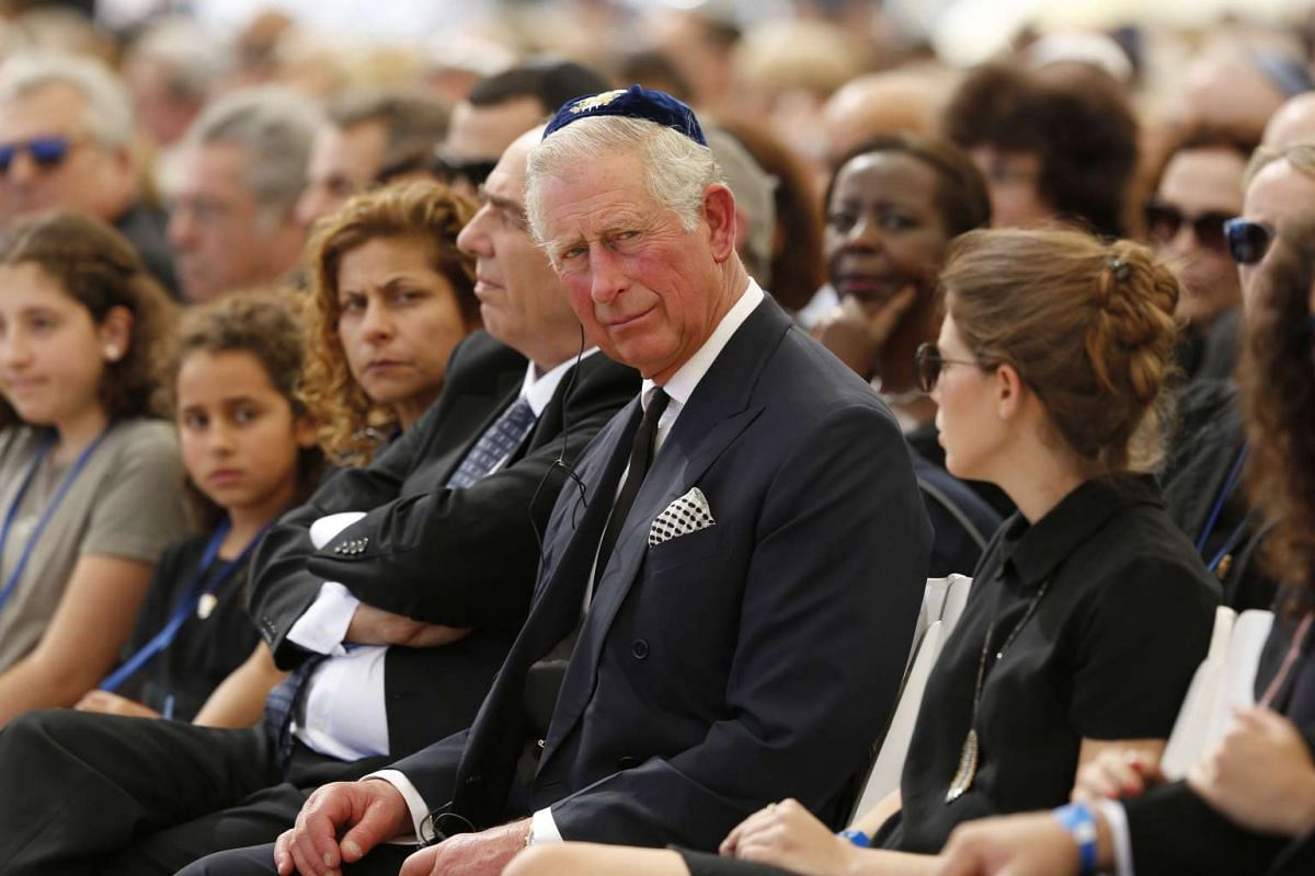 Britain's Prince Charles attends the funeral of former Israeli president Shimon Peres at the Mount Herzl national cemetery in Jerusalem on Sept 30, 2016.