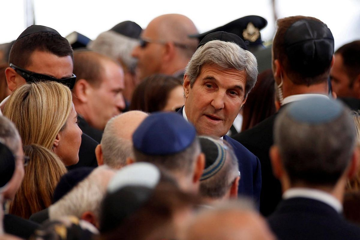 US Secretary of State John Kerry is seen upon his arrival to attend the funeral of former Israeli president Shimon Peres at Jerusalem's Mount Herzl national cemetery on Sept 30, 2016.