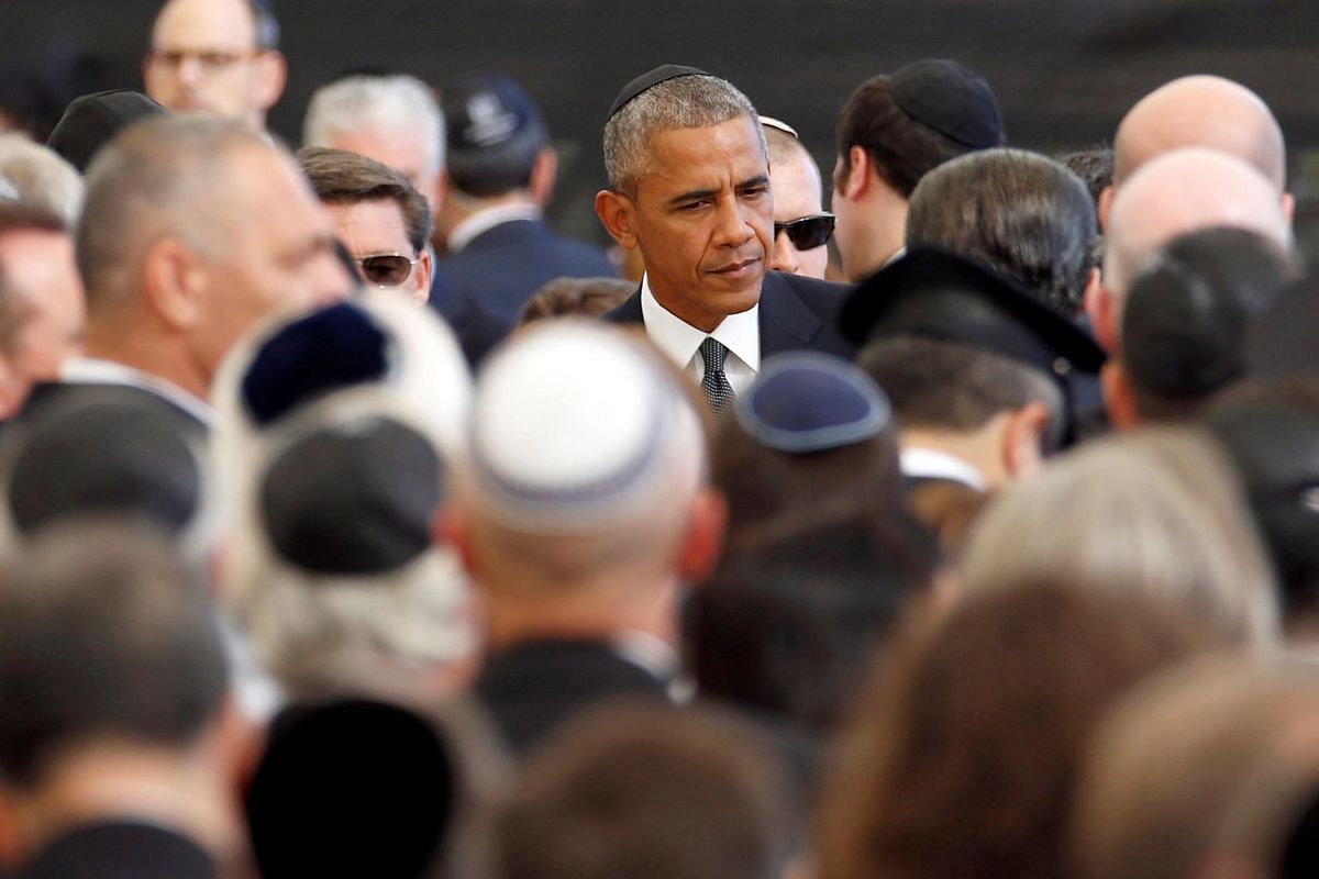 US President Barack Obama is seen upon his arrival to attend the funeral of former Israeli president Shimon Peres at Jerusalem's Mount Herzl national cemetery on Sept 30, 2016.