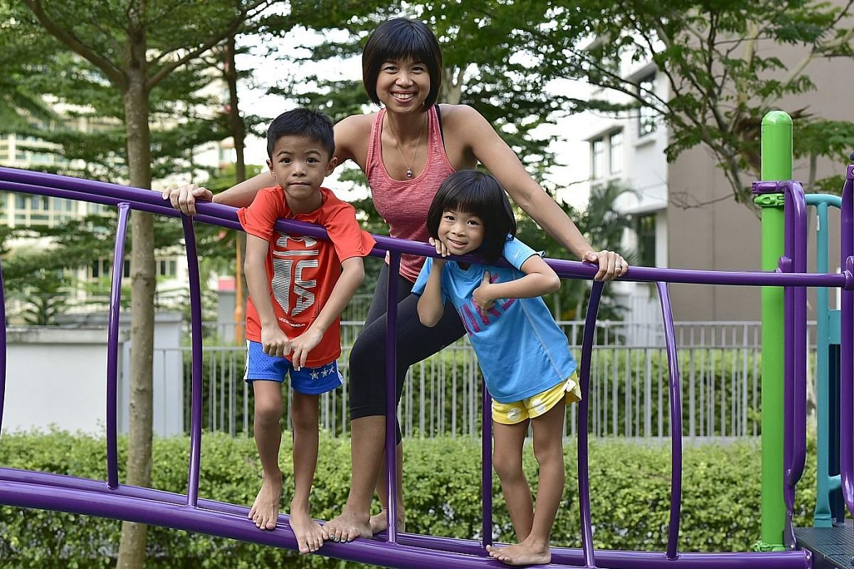 Above: Ms Sue Anne Kuek with daughter Grace Bi, 17, who lost about 18kg in two years. Left: Ms Kareen Lai wants her twins, Kiran and Aasha Fan, both five, to know that they should exercise for health and not to stay slim.