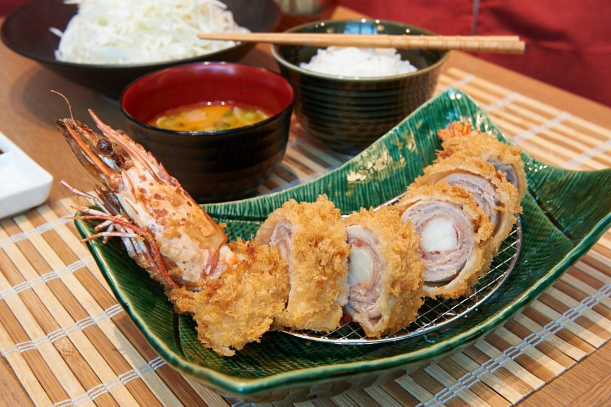 Tonkatsu Agedoki's signature dishes include Cutlet Of Wrapped Prawn With Pork set meal ($35, above).