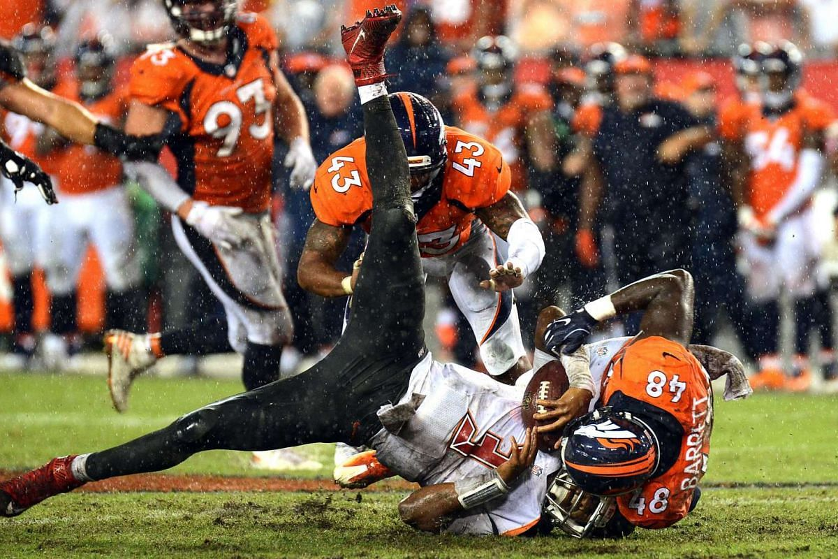 Tampa Bay Buccaneers quarterback Jameis Winston (3) is sacked by Denver Broncos linebacker Shaquil Barrett (48) during the second half at Raymond James Stadium in Tampa, Florida, on Oct 2, 2016.