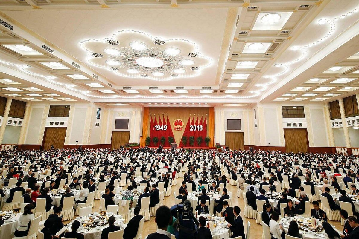 The Great Hall of the People: The 67th National Day reception on Sept 30, 2016.