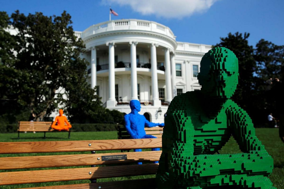 Lego statues for the South by South Lawn Festival of ideas, arts, and action are seen at the White House in Washington, Oct 3, 2016. PHOTO: REUTERS