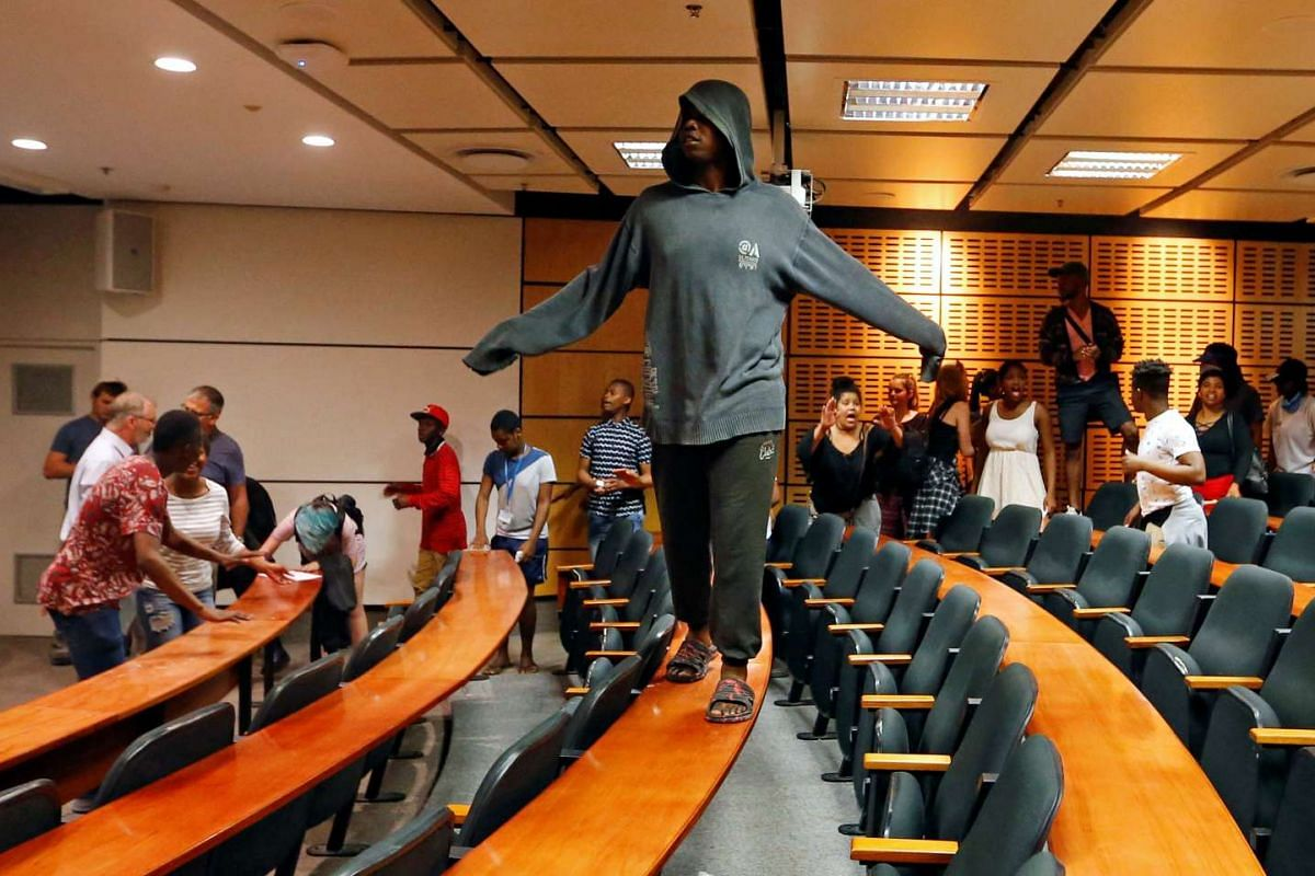Demonstrating students disrupt lectures during protests demanding free tertiary education at the University of Cape Town in Cape Town, South Africa, Oct 3, 2016. PHOTO: REUTERS