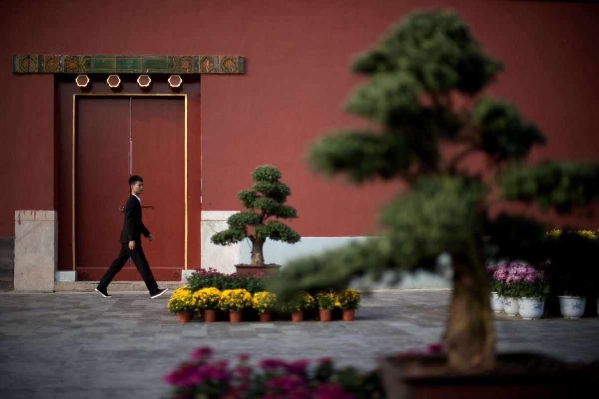 A man walks inside the Forbidden City during China's Golden Week holiday in Beijing, on Sept 29, 2016.