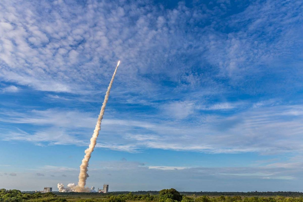 The Ariane 5 rocket lifts off from the Ariane Launchpad Area at the European Spaceport in Kourou, French Guiana, on Oct 5, 2016.  The rocket successfully launched a pair of communications satellites, the Australian SKY Muster II and the Indian GSAT-1