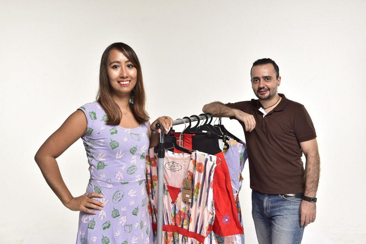 Ms Yumiko Uno (left), 35, and Mr Dragos Necula, 34, co-founders of Singapore-based fashion label Etrican, an eco-friendly fashion brand.