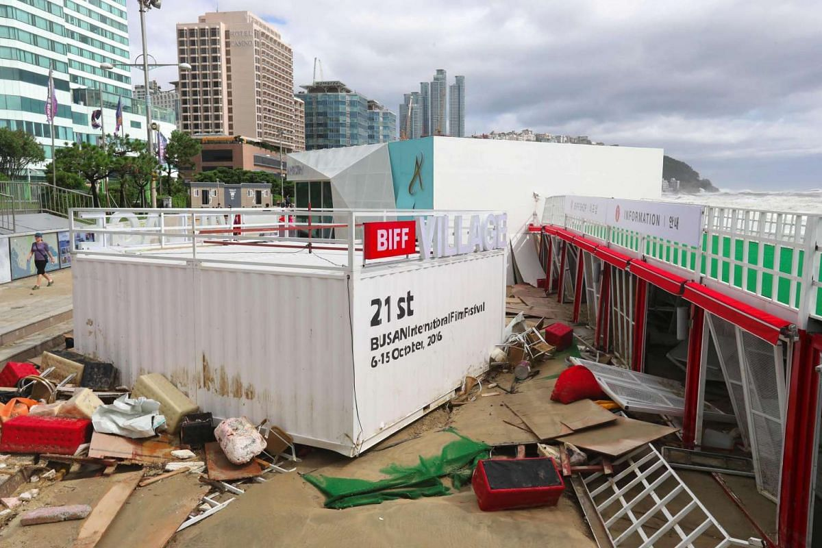 Debris from the Busan International Film Festival (BIFF) village seen along Haeundae beach in the aftermath of Typhoon Chaba in Busan on Oct 5, 2016.
