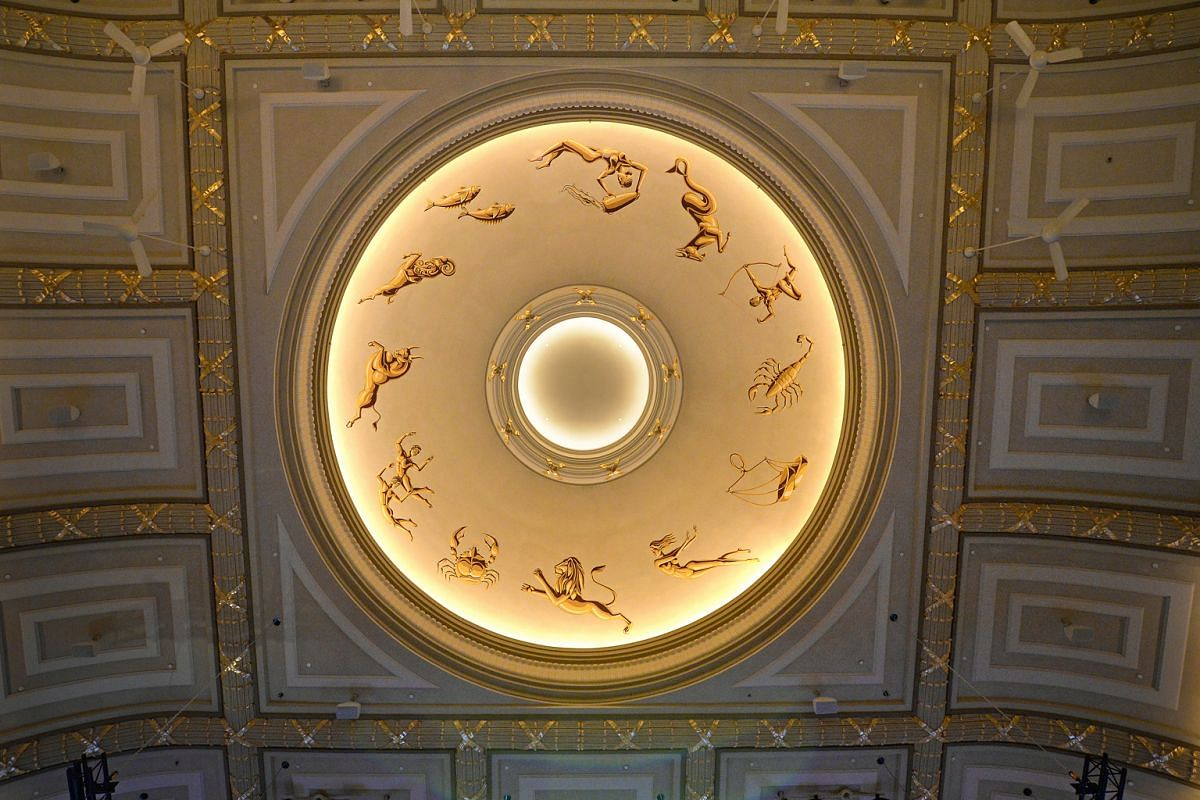 The recreated Persian Zodiac ceiling (above) of the Capitol Theatre, which is part of Capitol Singapore.