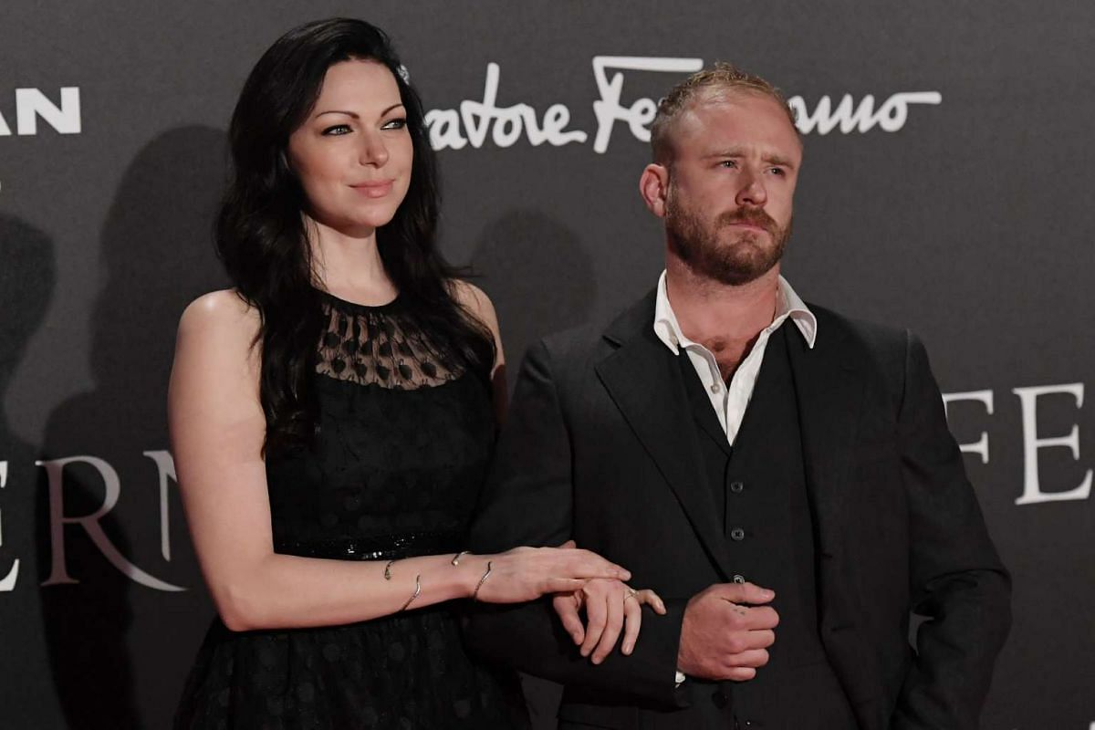 Actors Laura Prepon and Ben Foster attend the world premiere of Inferno.
