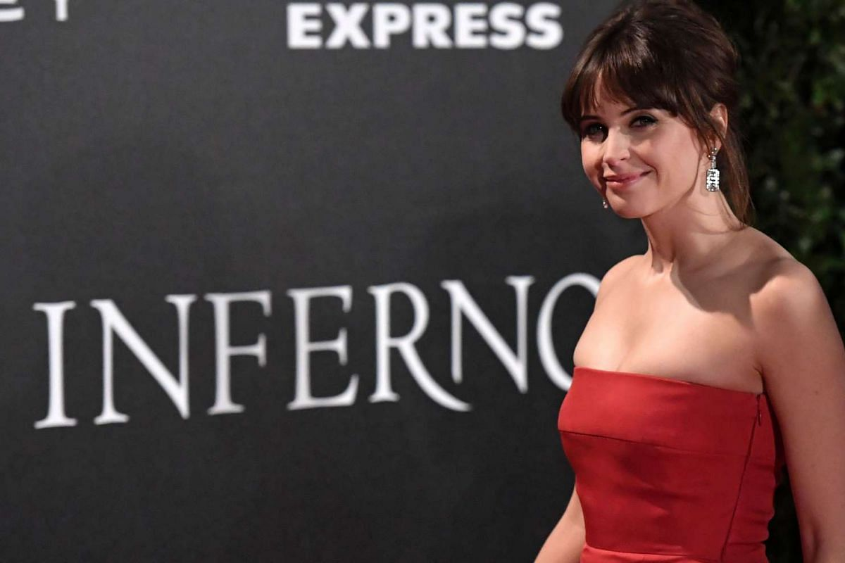 Actress Felicity Jones at the premiere of Inferno.