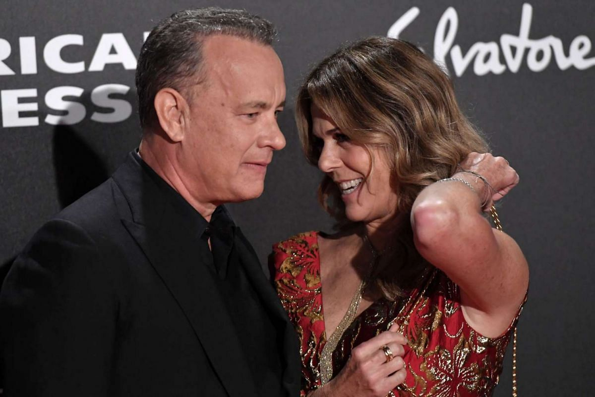 Tom Hanks poses with his wife Rita at the world premiere of Inferno.