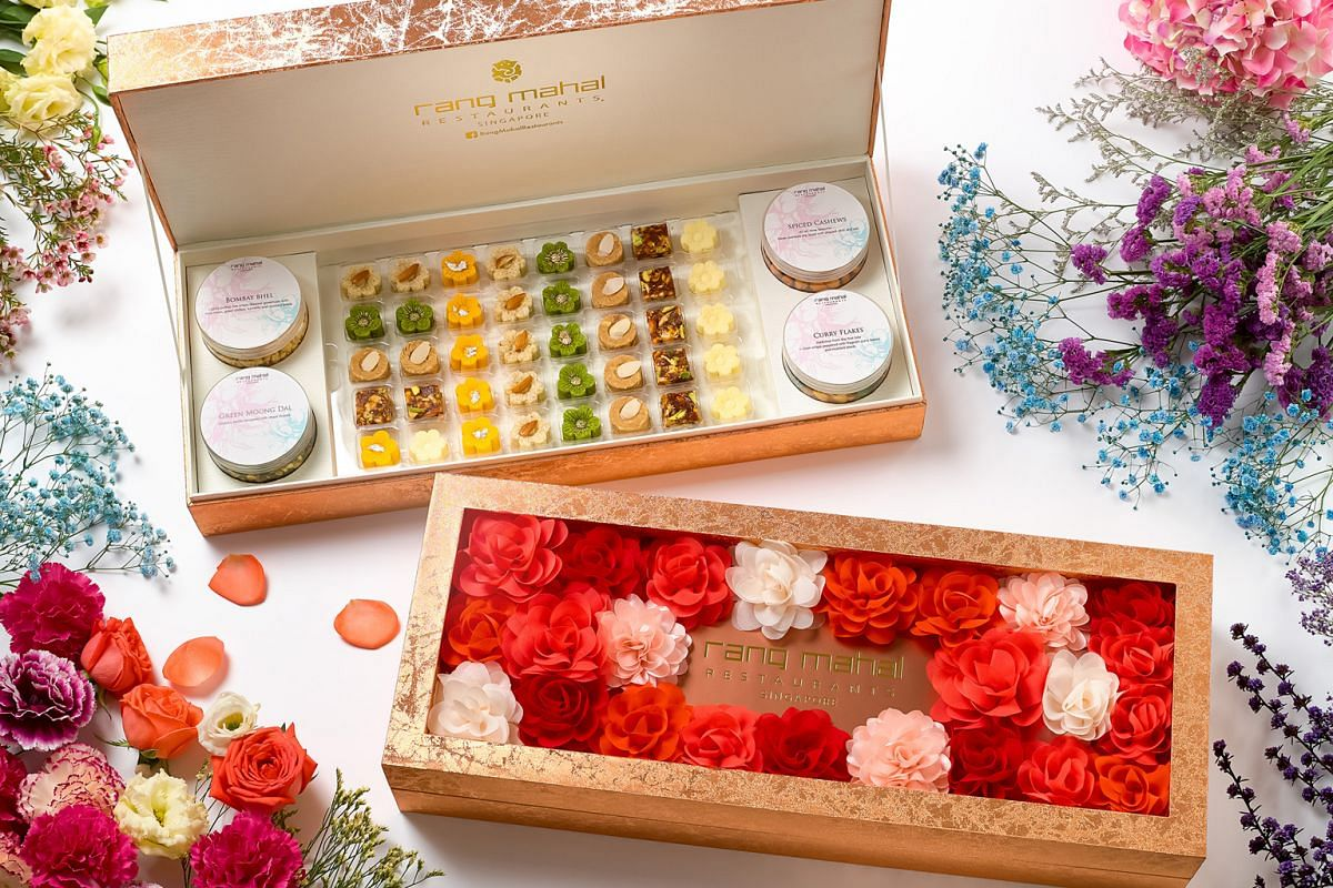 The Premium Box (above, $108+ for40 pieces of mithai and four savoury snacks) comes in an elegant flower-themed box.