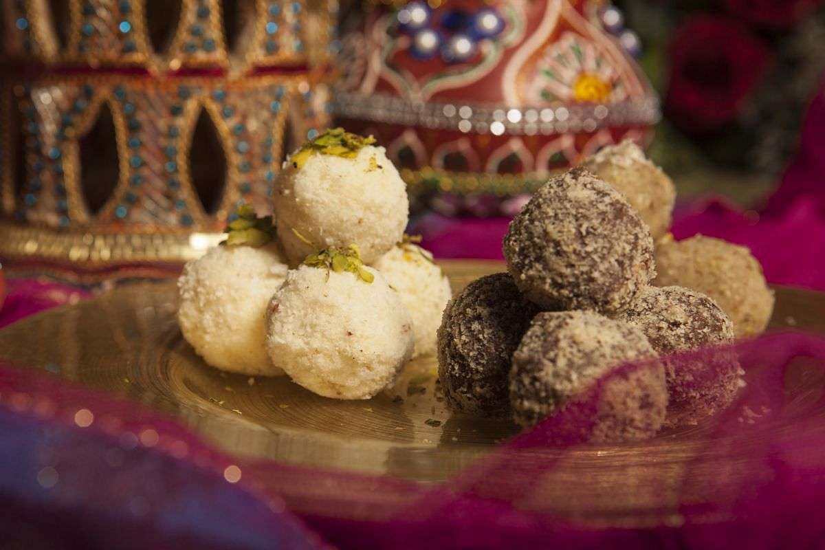 Coconut Almond ladoo (above left) is new.