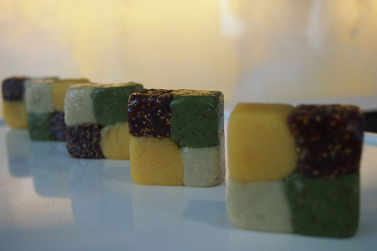 Chequered Burfi (above), a tapestry of hazelnut, pistachio, almond and cashew nuts.