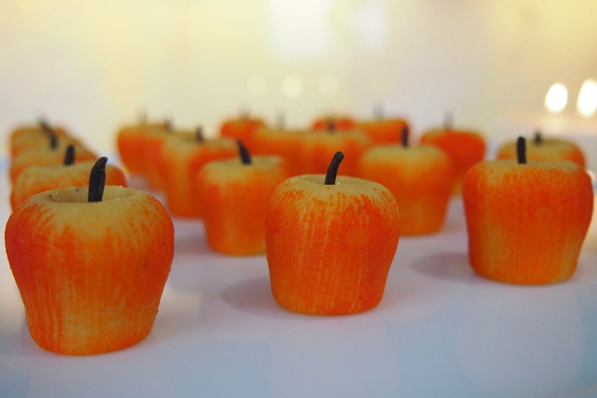 Keseriya Apple, an apple-shaped almond and saffron burfi, is one of the new flavours at Yantra by Hemant Oberoi.