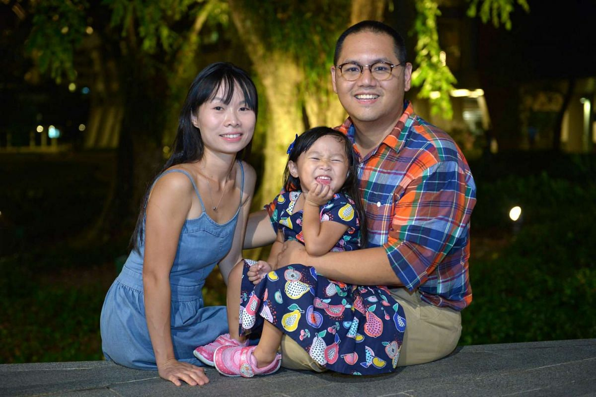 To reduce waste, Mr Benjamin Tay and his wife, Lexin, put cloth diapers on their daughter, Margaret, at home.