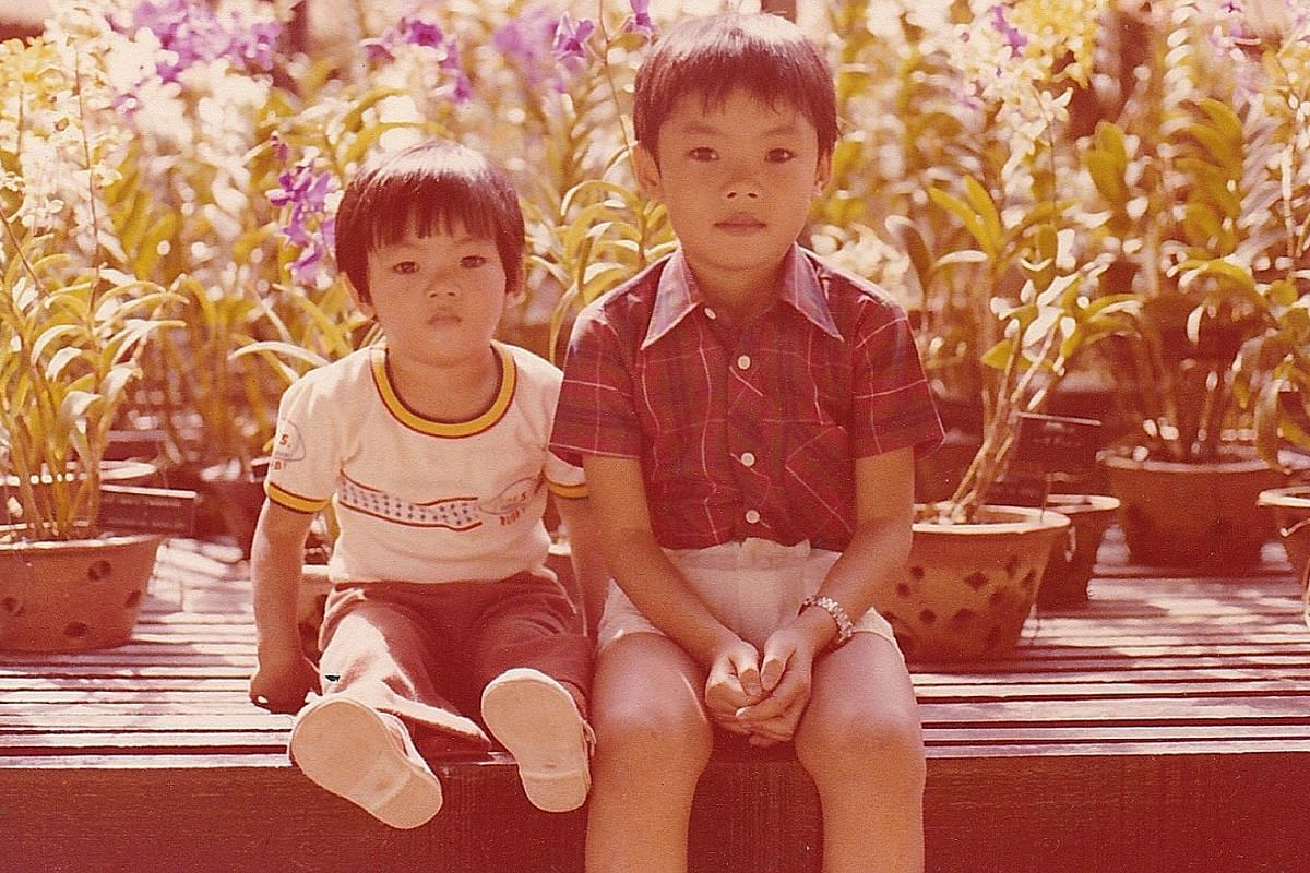 My life so far: Danny Yeo, three, with his father Yeo See Ann and mother Low Yin Fong at his birthday party, and at age six (above) with his younger brother Jason.