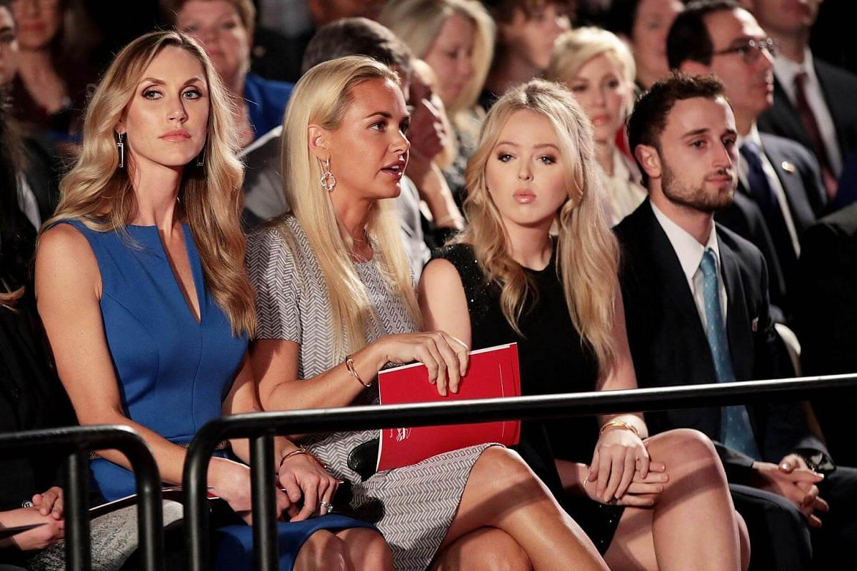 (From left) Republican presidential nominee Donald Trump's daughters-in-law Lara Trump and Vanessa Trump and daughter Tiffany Trump during the town hall debate at Washington University on Oct 9, 2016.