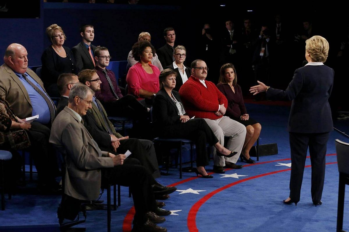 Democratic US presidential nominee Hillary Clinton speaks during their presidential town hall debate with Republican US presidential nominee Donald Trump at Washington University in St. Louis, Missouri, US, on Oct 9, 2016.