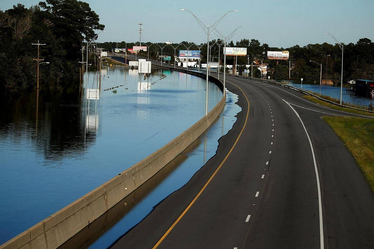 Flooded highway 95 is covered with water as a result of Hurricane Matthew in Lumberton, North Carolina, on Oct 10, 2016.