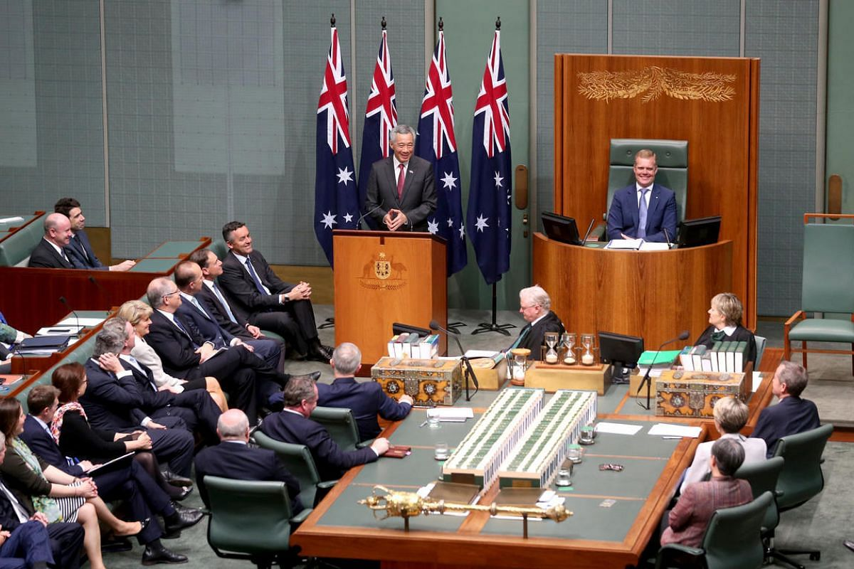 PM Lee Hsien Loong delivers address to Members and Senators of the Parliament of Australia at the House of Representatives Chamber, Parliament House on Oct 12, 2016.