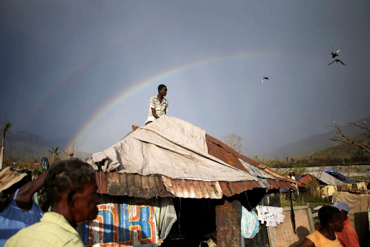 A man sets a tarpaulin to cover his house in an area destroyed by Hurricane Matthew in Les Anglais, Haiti, October 13, 2016. PHOTO: REUTERS