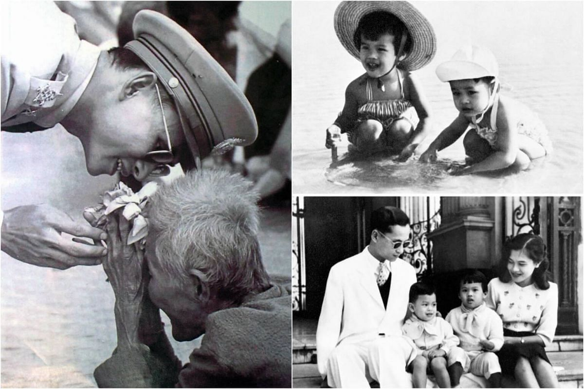 (Left) Thai King Bhumibol Adulyadej receiving flowers from a villager. (Right) Thai King Bhumibol Adulyadej and Queen Sirikit posing with their first two children Princess Ubol Ratana and Prince Maha Vajiralongkorn in 1955.