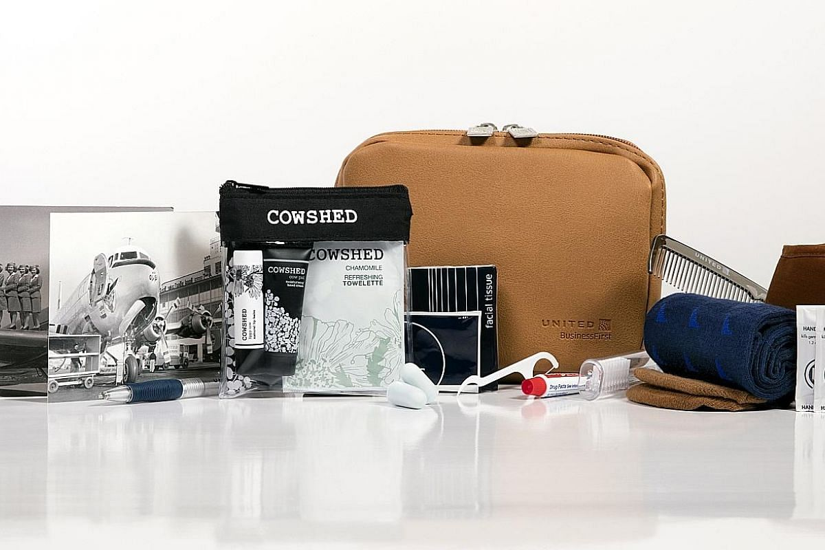 BusinessFirst passengers on board United Airlines get an amenity kit which includes offerings by British spa brand Cowshed.