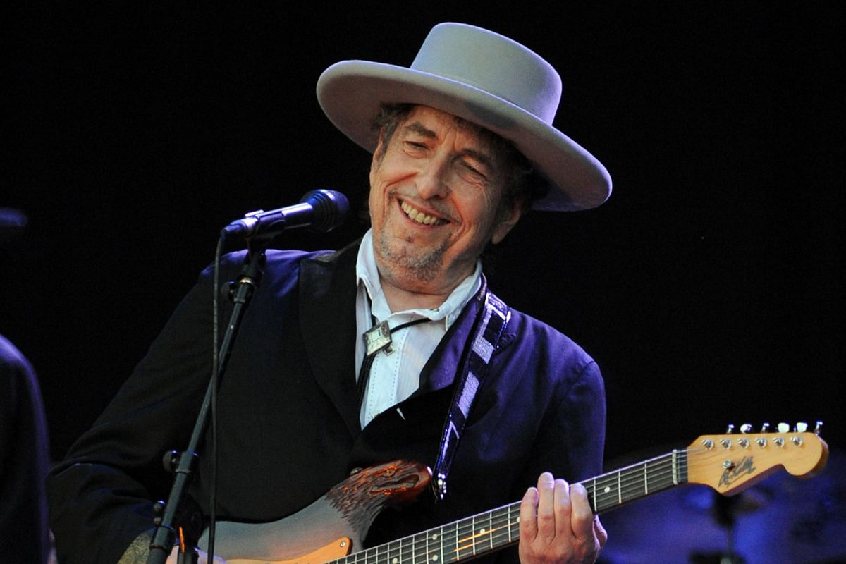 Bob Dylan performing in France in 2012. He won the Nobel Prize in Literature.