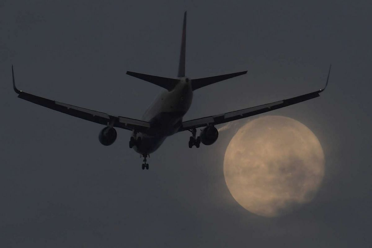 """A passenger aircraft makes it's landing approach to Heathrow airport in front of a """"supermoon"""" at dawn in west London, Britain, October 17, 2016. PHOTO: REUTERS"""