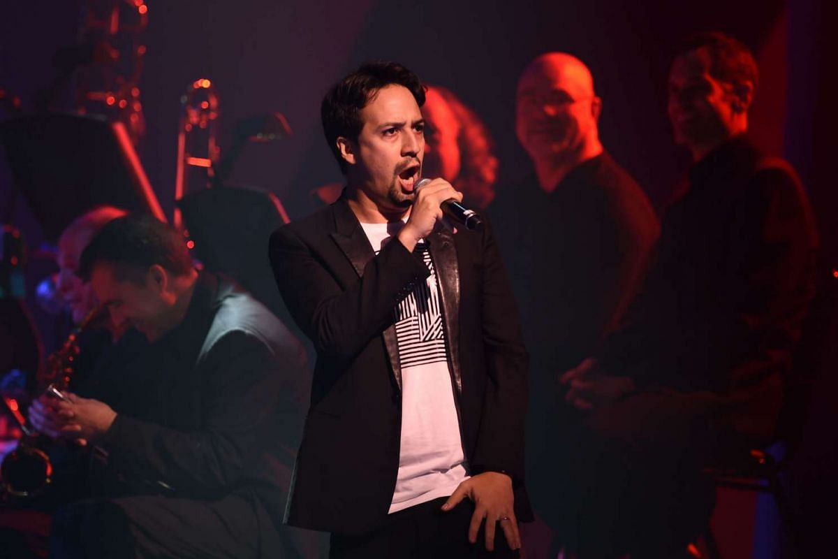 Lin-Manuel Miranda singing during the Stronger Together fund-raiser, in support of Democratic presidential candidate Hillary Clinton, at St James Theatre in New York on Oct 17, 2016.