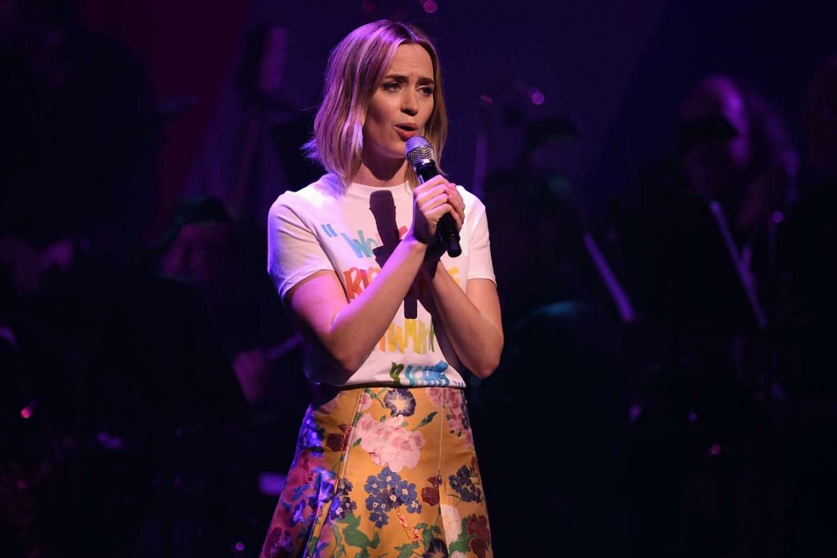 Emily Blunt speaking during the Stronger Together fund-raiser, in support of Democratic presidential candidate Hillary Clinton, at St James Theatre in New York on Oct 17, 2016.