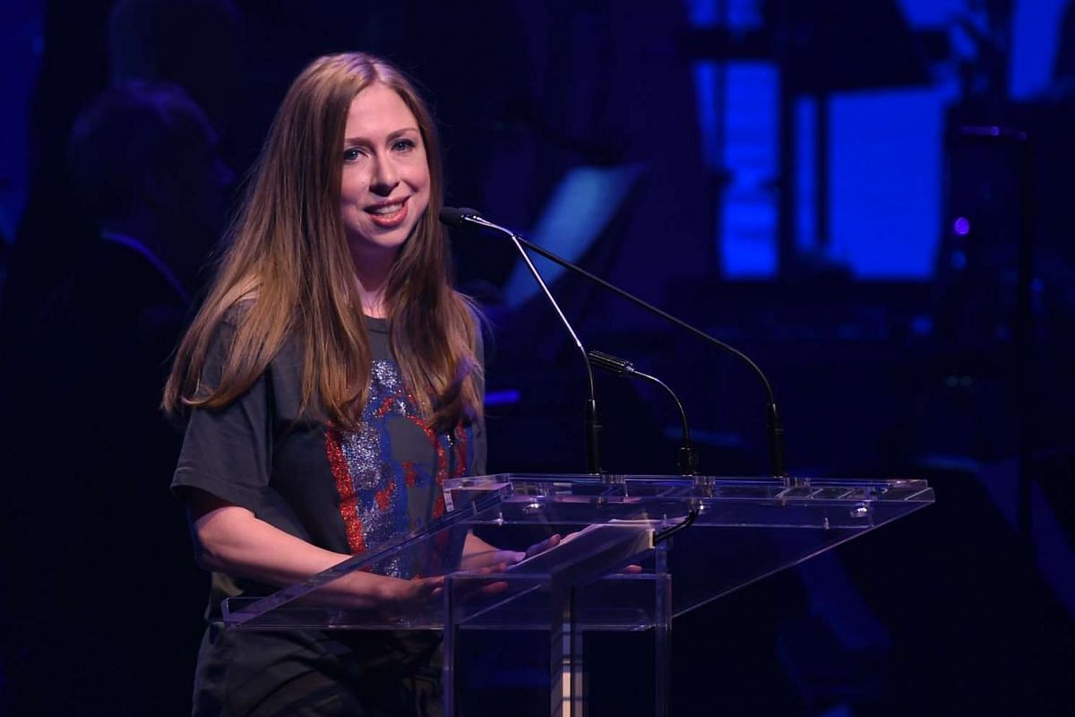 Chelsea Clinton speaking during the Stronger Together fund-raiser, in support of her mother, Democratic presidential candidate Hillary Clinton, at St James Theatre in New York on Oct 17, 2016.